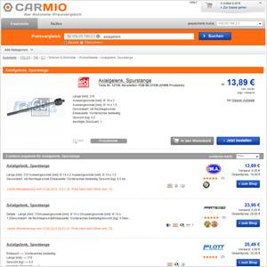 Carmio Preisvergleichsseite