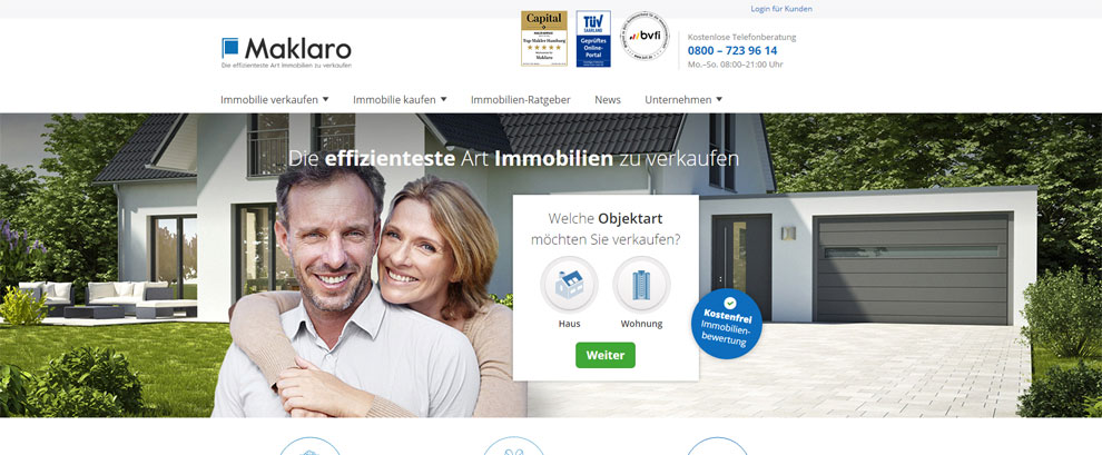 Maklaro - Die effizienteste Art Immobilien zu verkaufen